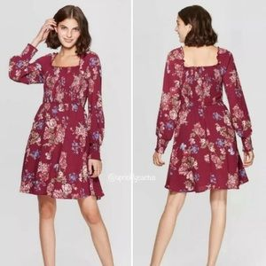 NEW Burgundy Wine Floral Smocked Long Sleeve Dress